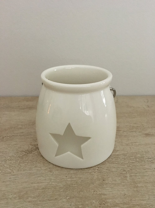 white ceramic tea light holder's star shape metal handle H7.5cm
