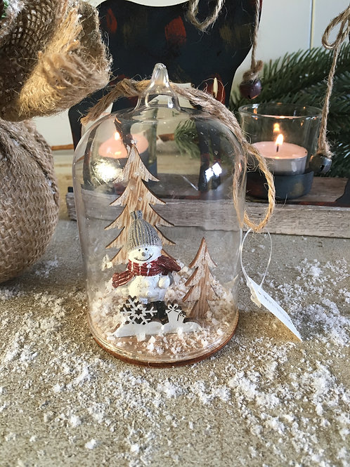 christmas snowman glass dome tree decoration hanging ornament H11cm W7cm approx