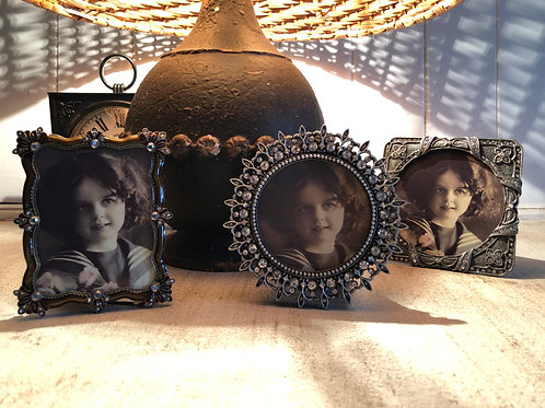vintage style photo frames  circle D10.5cm  square 10cm rectangle H10cm