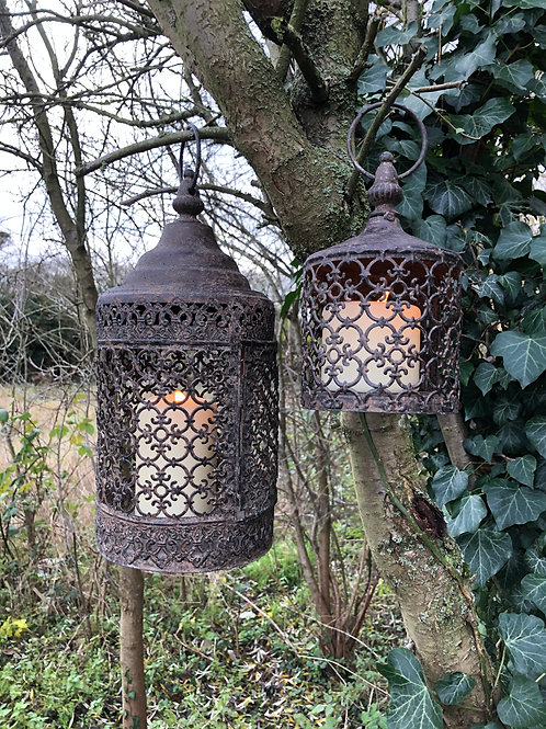 set of 2 moroccan vintage style metal lantern's rustic brown home decor-garden