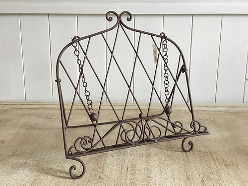 metal recipe book holder brown with chain page markers french country style