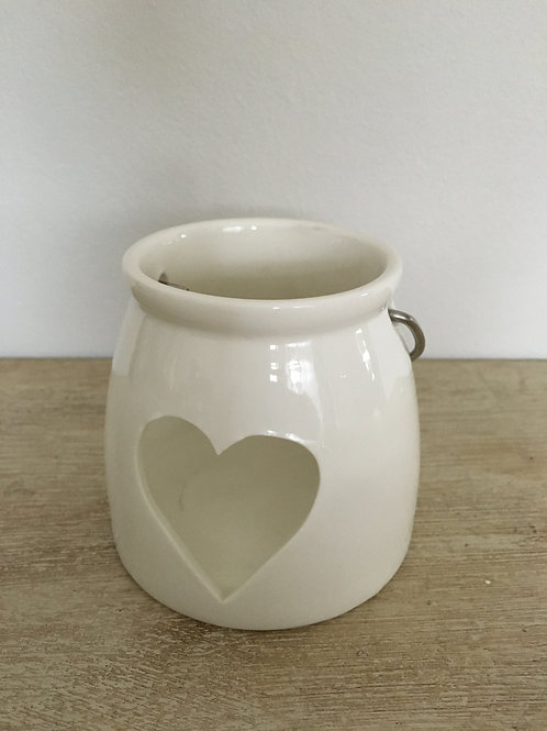 white ceramic tea light holder H7.5cm heart shape cut out and metal handle