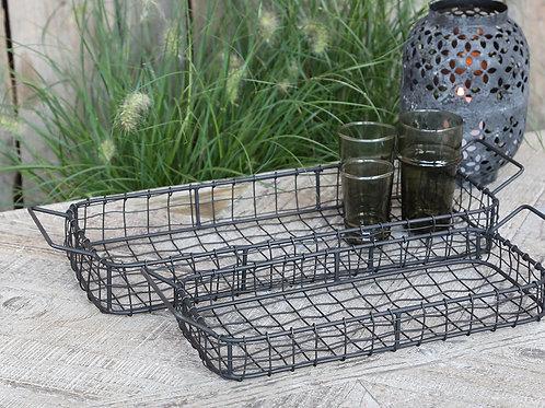 set of 2 fil de fer trays  metal baskets with handles kitchen bathroom vanity