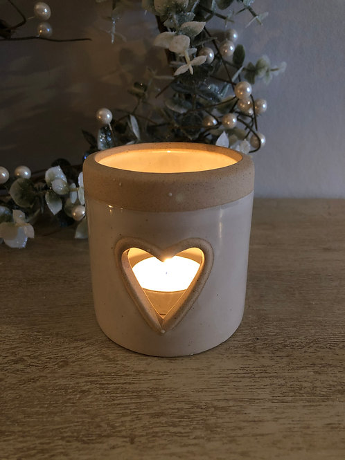 heart cut out tea light holder ceramic cream/sand H8.5cm D8cm
