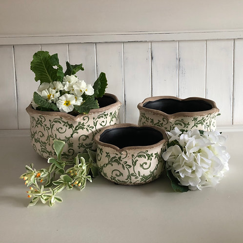 vintage style plant holders set of 3 cream/green leaf floral pots home decor