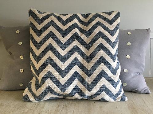 blue zigzag cushion cotton/linen large H55cm  W55cm including duck filled pillow