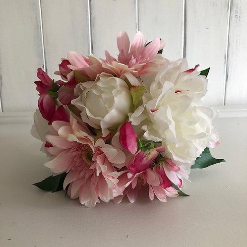 faux peony/gerbera/sweetpea mixed posy Bouquet handtied single stems H26cm