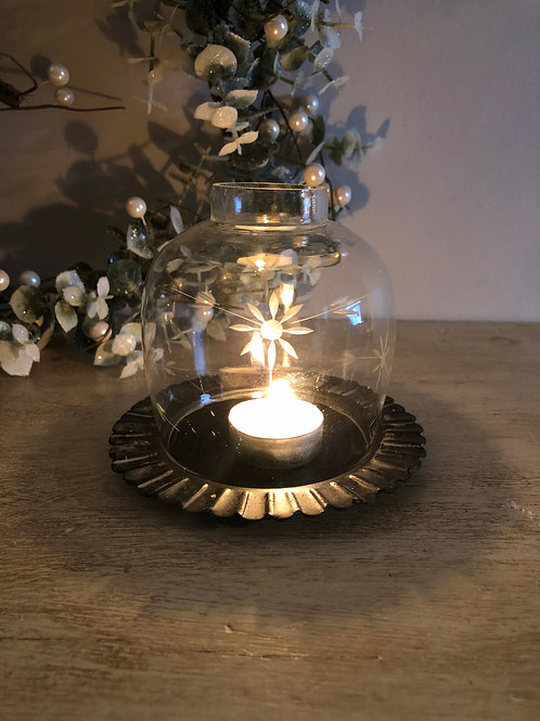 etched glass lantern on metal plate tea/light holder H11.5cm  W13cm of plate