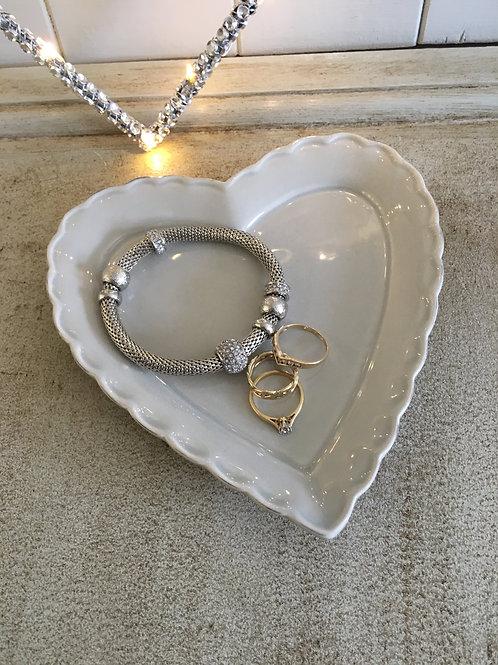 small heart shape dish grey H16cm W16cm approx  food  trinkets vintage style