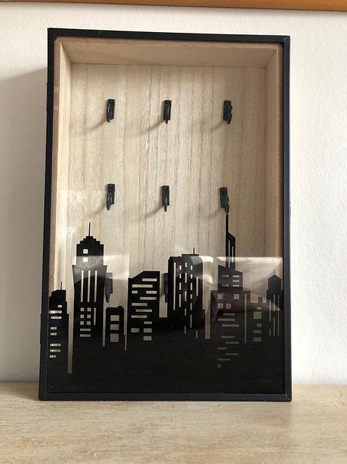key storage box wooden with glass door 9 hooks H30cm W20cm D5cm