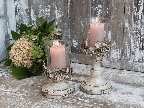 french country distressed metal candlestick with glass holder H25cm and H18cm