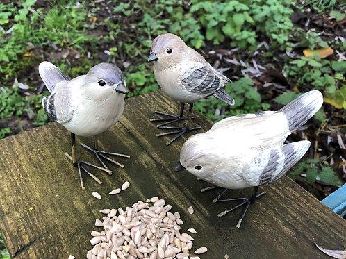 bird ornament's garden set of 3 finches H9cm L10cm approx