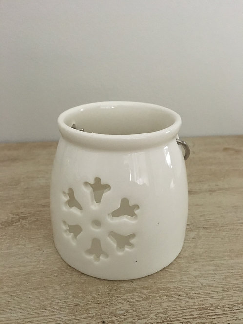 white ceramic tea light holder's snowflake shape metal handle H7.5cm