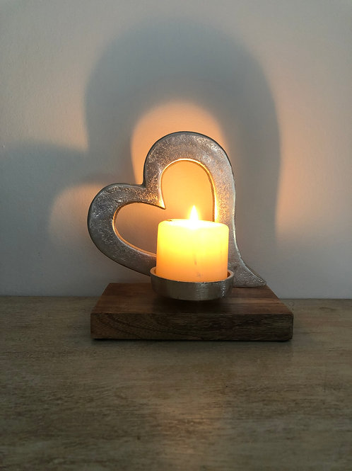 candle tea/light holder tilted heart H19cm W18cm D10cm