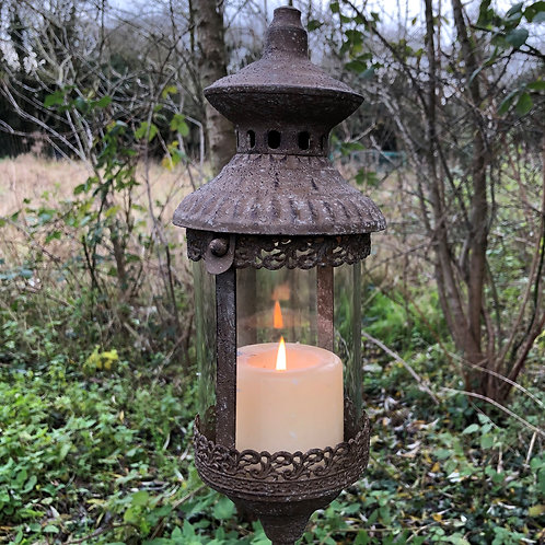 metal and glass lantern on stake garden tea light holder overall height 130cm
