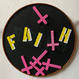 "Losing Faith 36"" diameter mixed media on tabletop 2020"