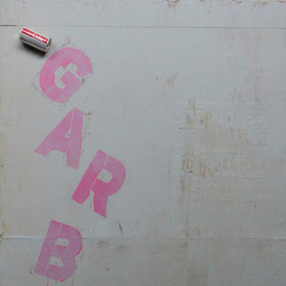 "GARBAGE 36"" x 60"" latex, bondo and stencil on found object (tabletop) 2018"