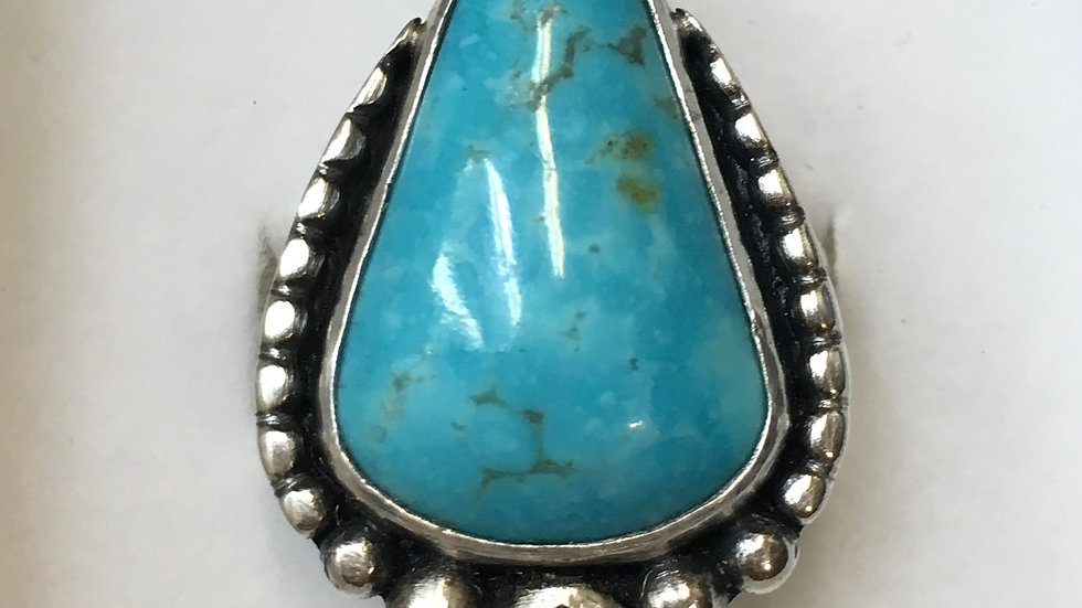 Turquoise and Iolite sterling silver ring - size 6