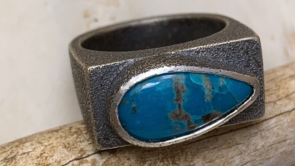 OOAK Hollow Form Turquoise Ring - size 8.25