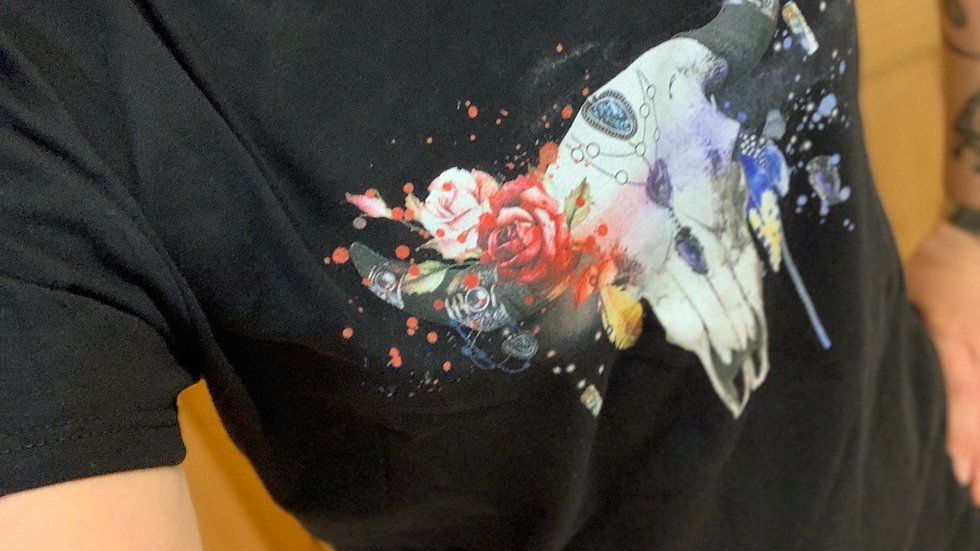 Grey Ox Metal ladies black T-shirt