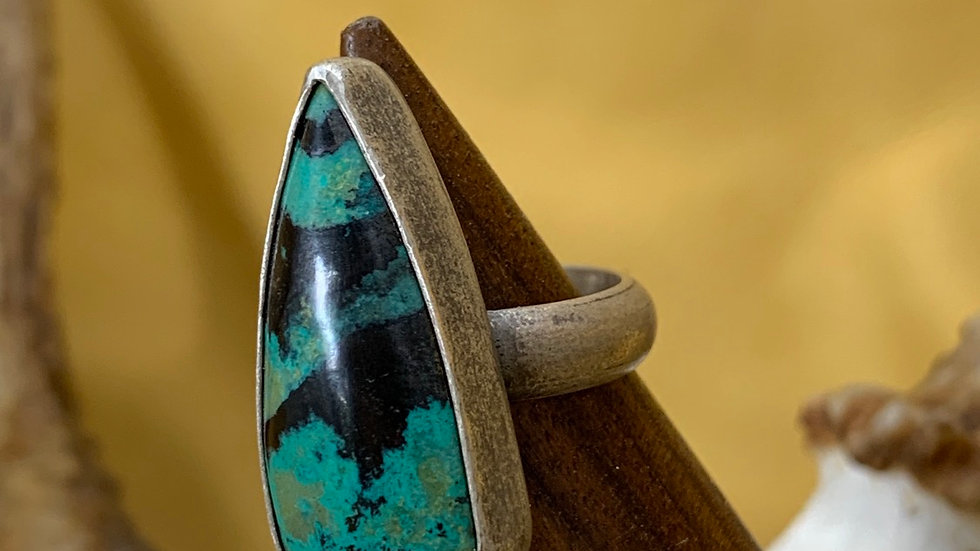 Sonora Sunrise Chrysocolla Sterling ring - size 6