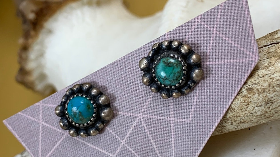 Turquoise sterling handmade bead earrings