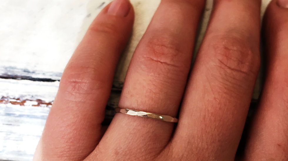 2mm sterling hammered band
