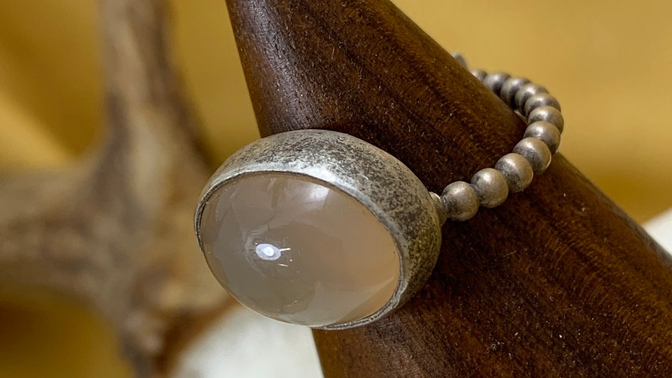 Peach Moonstone sterling ring - size 9