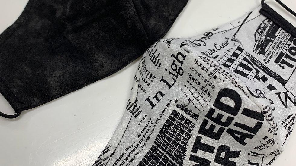 """""""NEWS PRINT"""" FLIP SIDE COMBAT MASK (no filter pocket)"""