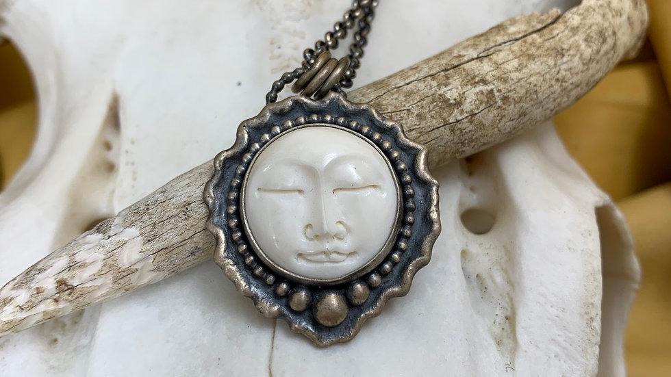 Sleepy Moon Face melted edge sterling pendant