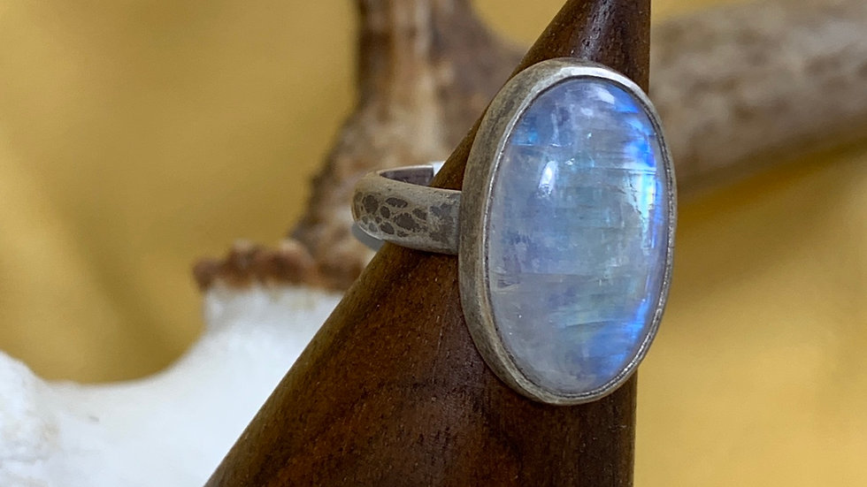 Moonstone hammered sterling ring - size 8