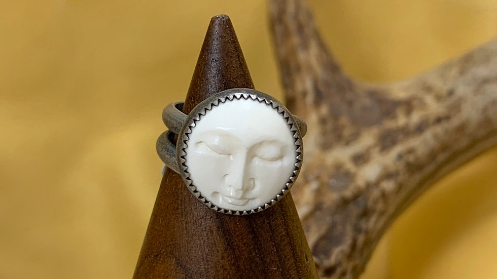 Sleepy Moon Face sterling adjustable size ring