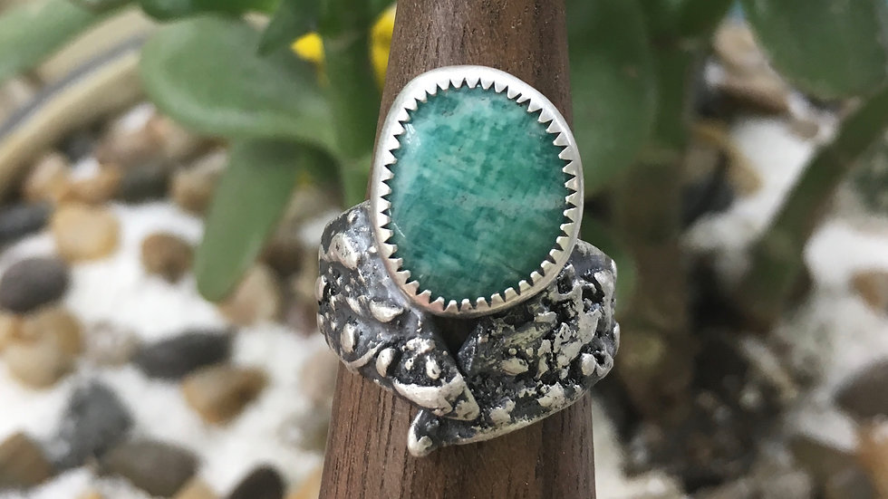 Amazonite Fused Floater set in Sterling - size 7.25