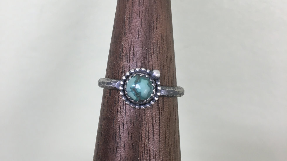 Turquoise Dainty Bead Ring - size 9