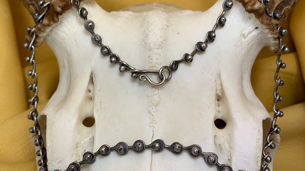 "Hand Forged Bicycle Chain - 16"" sterling silver"