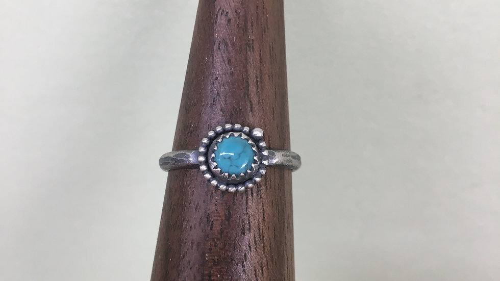 Turquoise Dainty Bead Ring - size 8