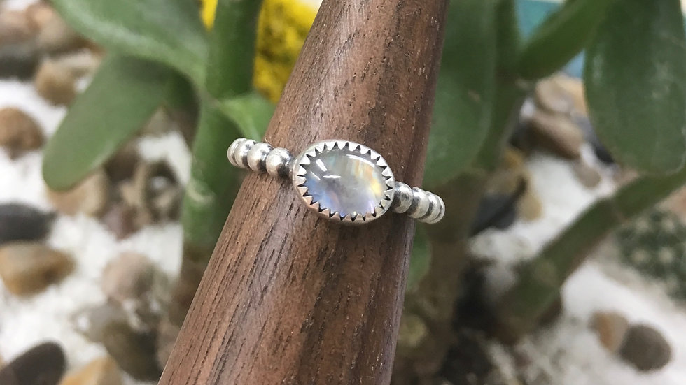 Rainbow Moonstone set in Sterling - size 6