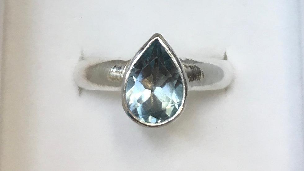 Teardrop blue topaz ring in sterling silver - size 7.5