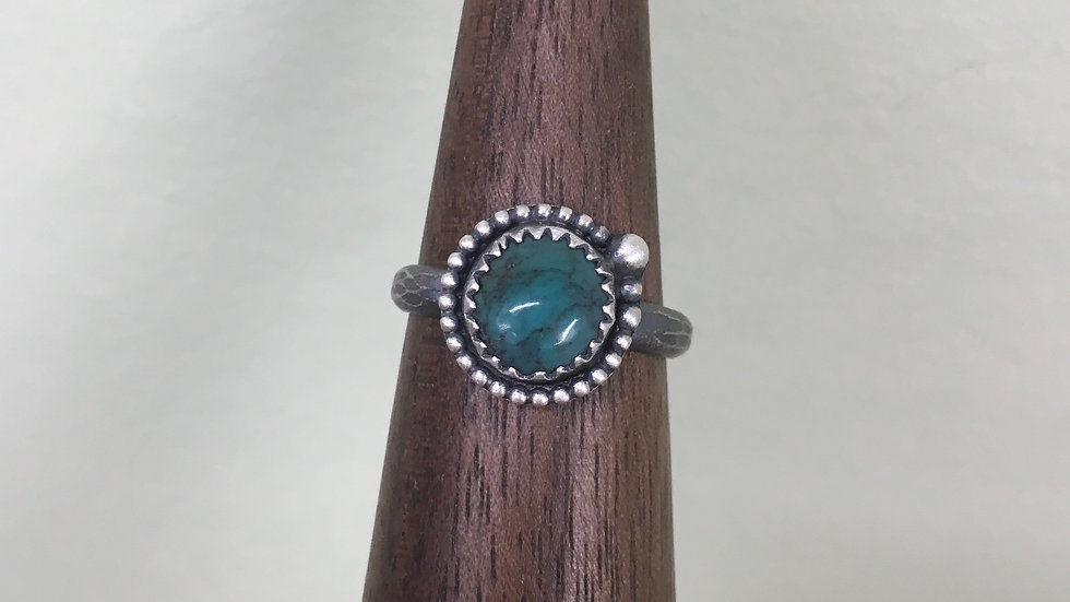 Turquoise Dainty Bead Ring - size 6