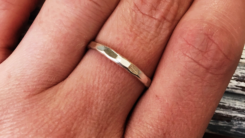 3mm sterling hammered band