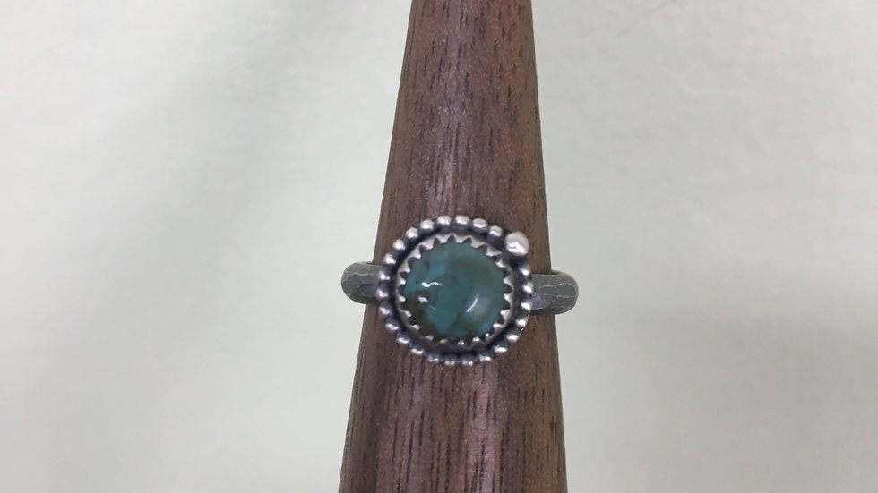 Turquoise Dainty Bead Ring - size 5