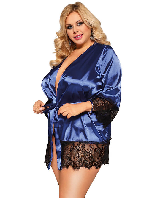 Sexy blue satin lace robe plus size lingerie