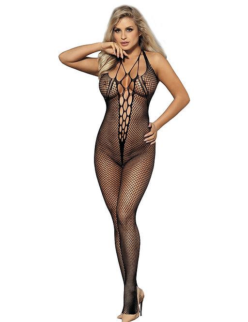 Sexy black fishnet plus size lingerie bodystocking