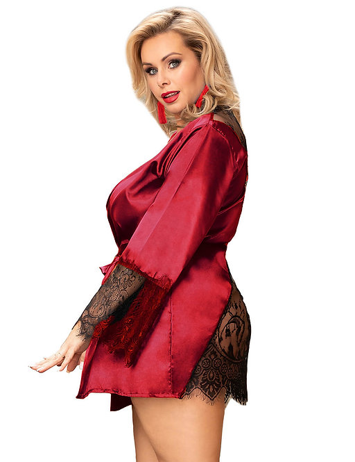 Sexy red satin lace robe plus size lingerie