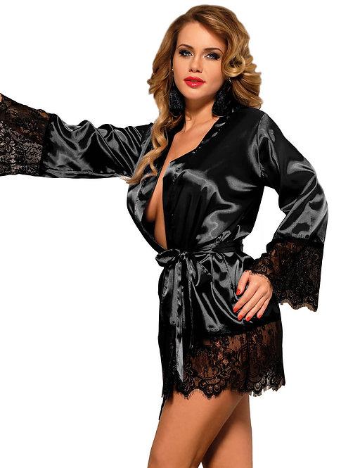 Sexy black satin lace plus size lingerie robe
