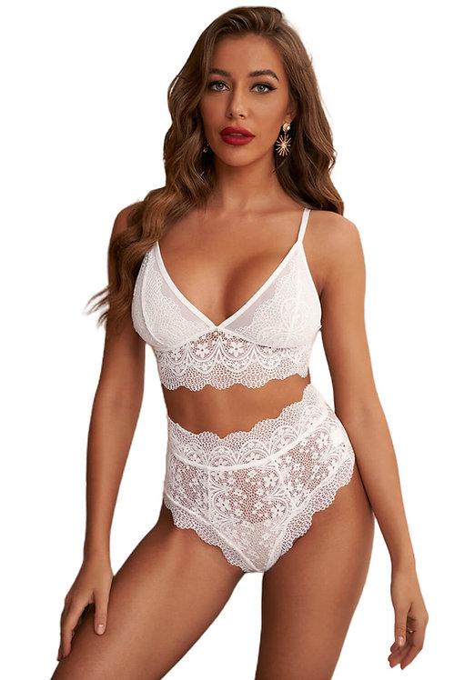 Sexy white lace plus size lingerie set