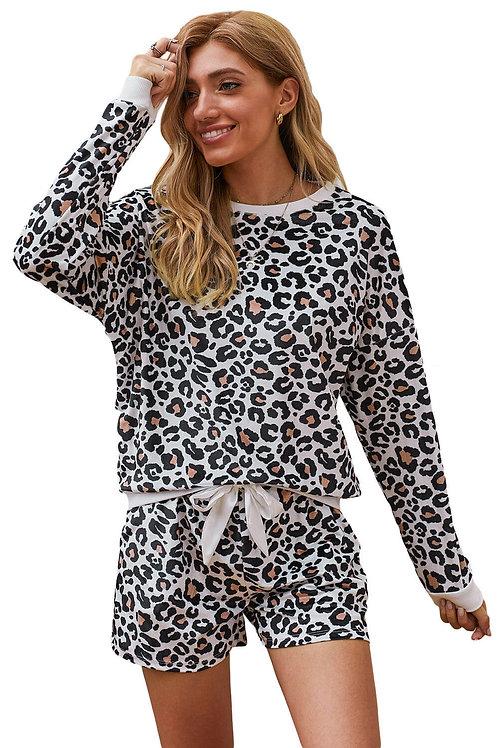Plus size leopard print lingerie sleepwear set