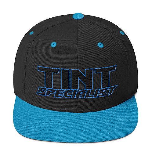 Black and Teal Yupoong Snapback Hat