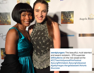 Being awarded Best Female Director by Angela Basset at C&C Film Festival