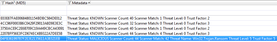 Example RL hash query results in Metadata column